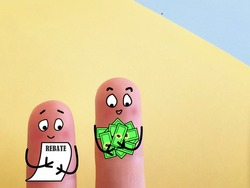 Two fingers are decorated as two person. Both of them are happy. They have cash rebates.