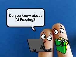 Two fingers are decorated as two person. They are discussing about artificial intelligence fuzzing.