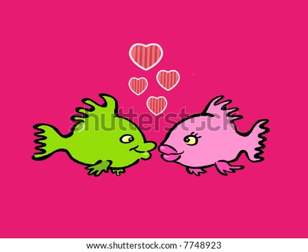 Cartoon Fishes Kissing. your fish kissing,free