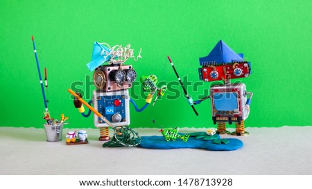 Two fisherman robots at the pond. Angler accessories rod bucket bait, blue lake, water lily and fish. Green background. #1478713928