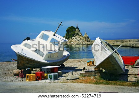 Two fishing boats on the seacost in Trpanj (Croatia)