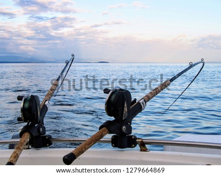 Two fishing rods held in fishing rod holders, attached to a back of a boat.  The rods are bent from the weight of the down riggers.  People are trolling for salmon of the coast of British Columbia.