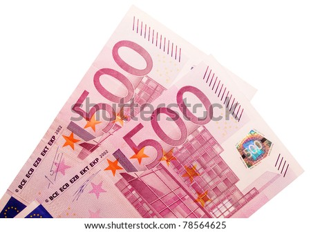 Two five-hundred-euro banknotes isolated over a white background.