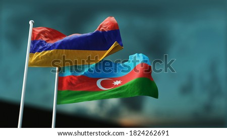 Two flags of Armenia and Azerbaijan fluttering in the wind against the evening sky. 3D Render