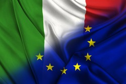 Two flags of Italy and the European Union