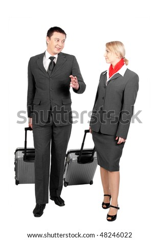 two flight attendants talking isolated on white background