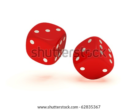 Two floating red dices on a white background.