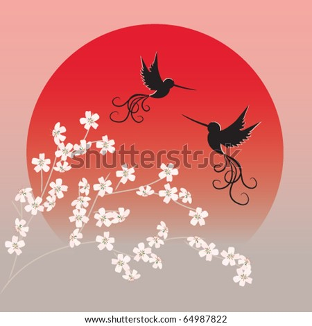 Two flying birds and sakura branches in front of red rising sun - stock photo