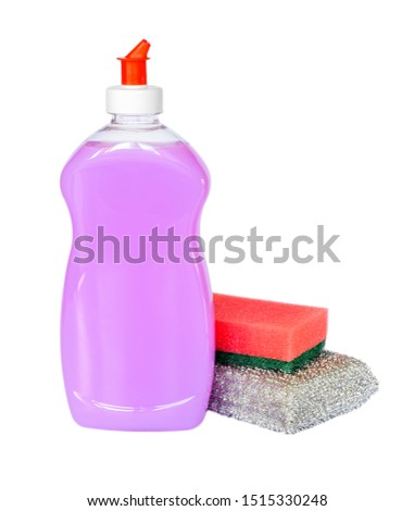 Two foam sponges and pink or lilac dishwashing liquid in a transparent plastic bottle isolated on a white background. Kitchen detergent. Household chemicals. Household chores. #1515330248