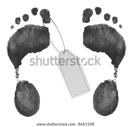 two foot prints - one with toe tag