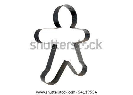 Two foot tall ginger bread man cookie cutter isolated on white with room for your text or images