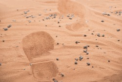 two footprints from human astronaut on martian surface