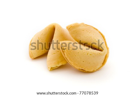 Two fortune cookies isolated on white