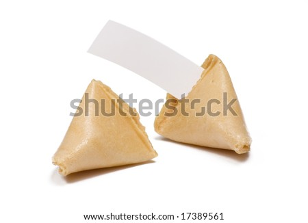 Two fortune cookies isolated on white with blank fortune message