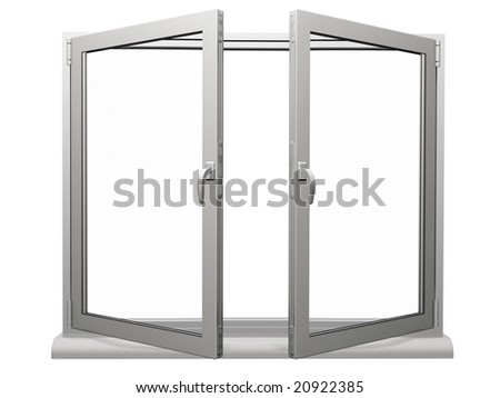 two frame open plastic window isolated on white #20922385
