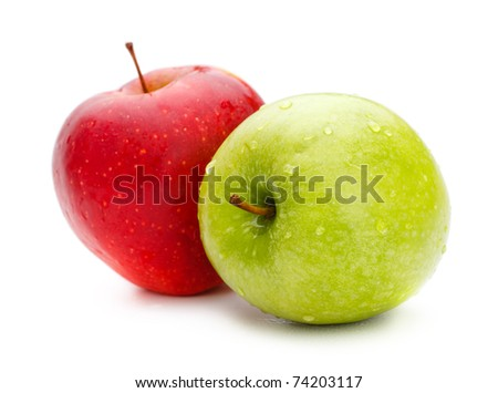 two fresh apples isolated on white background