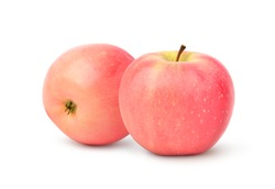Two Fresh Fuji Apples isolated on white background. Clipping path.