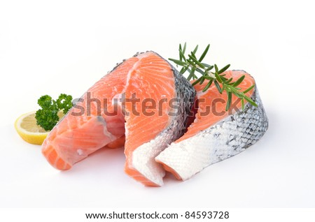 Two fresh Norwegian salmon steaks