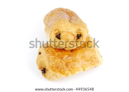 two fresh pain au chocolat isolated on white background