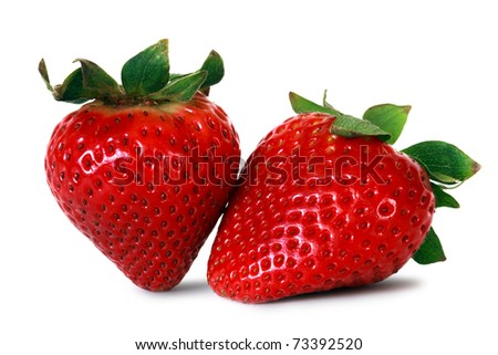 two fresh strawberries over white background