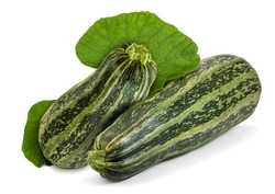 Two fresh striped zucchini with leaves isolated on white. Cocozelle Summer Squash (Cucurbita pepo) have excellent flavor for all regular zucchini uses.