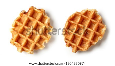 two freshly baked belgian waffles isolated on white background, top view Foto stock ©