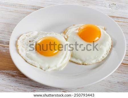 Two fried eggs for healthy breakfast . Stock foto ©