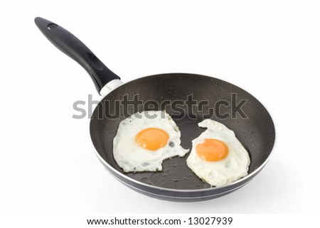 Two fried eggs on non-stick frying pan
