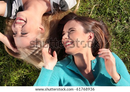 Two friended woman at park