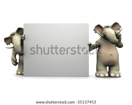 Two friendly cartoon elephants standing around a big blank sign, one of them thinking about something.