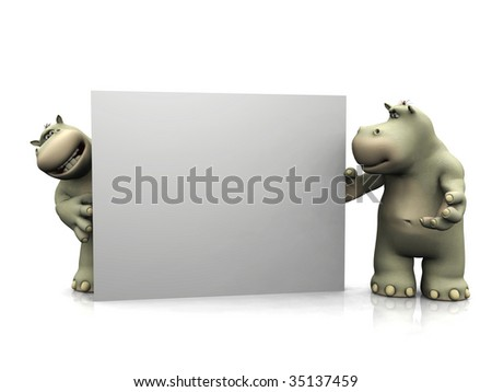 Two friendly cartoon hippos standing around a big blank sign.