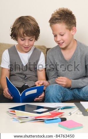 Two friends doing their homework in the livingroom