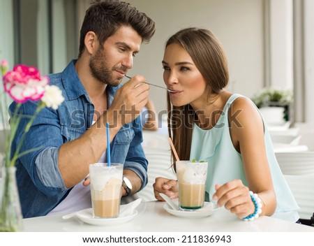 Two friends drinking coffee #211836943