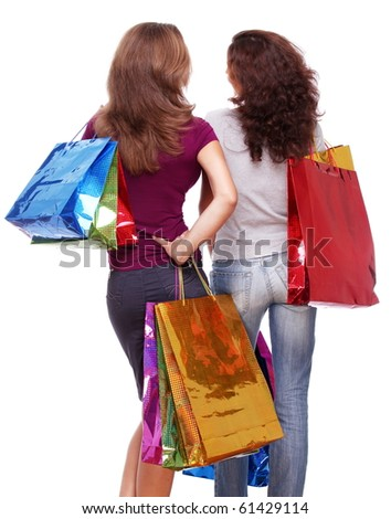 Two friends from the back with shopping on a white background