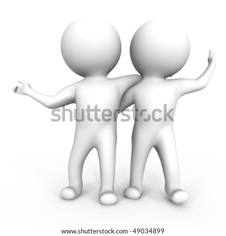 Two friends having fun - a 3d image