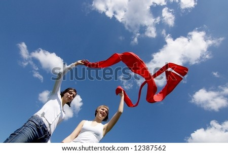 Two friends having fun on a meadow - stock photo