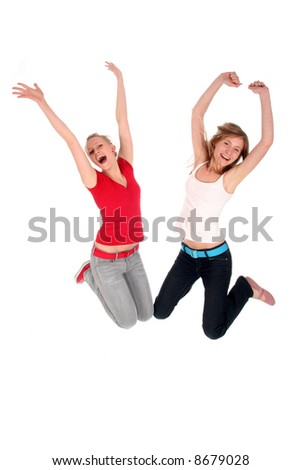 Two friends jumping