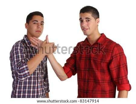 two friends meeting joinging their hands
