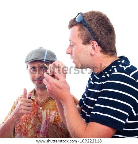 Two friends smoking hashish joint, isolated on white background.