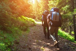 Two friends travel in the mountains with backpacks