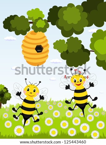 Two funny bees. Raster version
