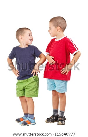 Two funny brothers isolated on white background