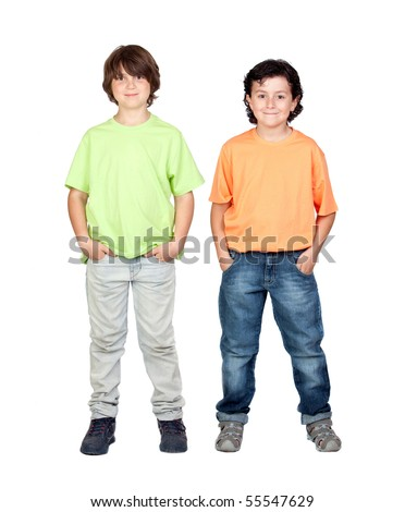 Two funny children isolated on white background