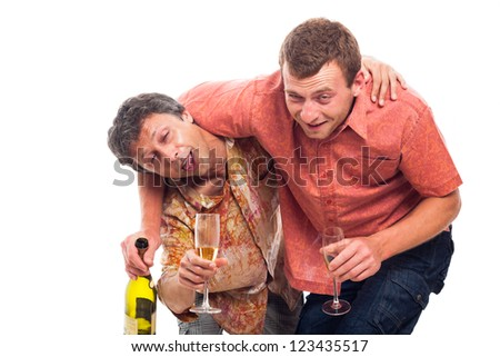 Two funny drunken men with bottle and glass of alcohol, isolated on white background.
