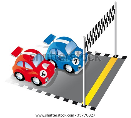 Two funny race cars on race track with finish line and checkered flag - Raster version