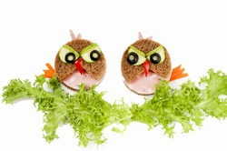 Two funny  sandwich for child - isolated on white background.