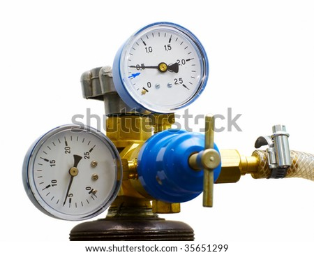 two gas and pressure meters and tap isolated