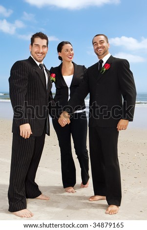 Two gay getting men getting married on a beach