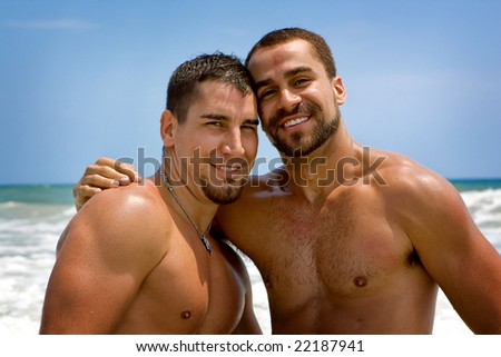 Two gay man at the beach