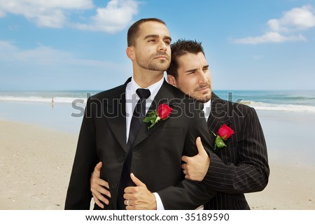 stock photo : Two gay men after wedding